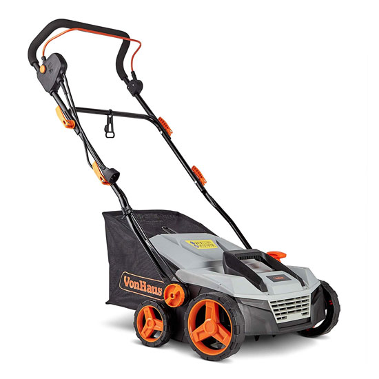VonHaus Corded 15 Inch Electric 2 in 1 Lawn Dethatcher and Aerator