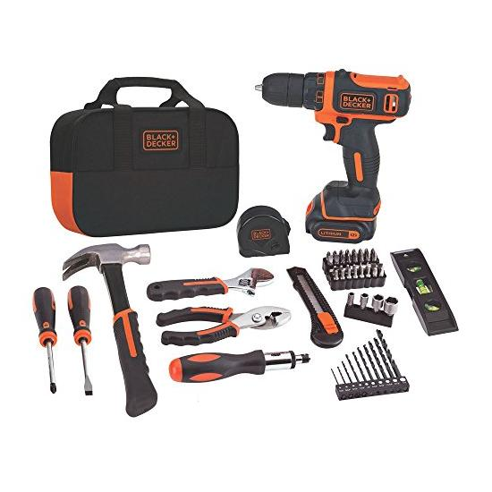 BLACK+DECKER 12V MAX Drill & Home Tool Kit, 60-Piece Image