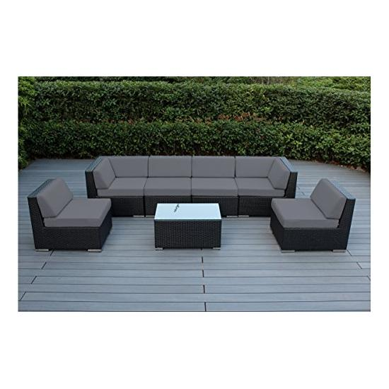 Ohana 7-Piece Outdoor Patio Furniture Sectional Conversation Set, Black Wicker with Gray Cushions – No Assembly with Free Patio Cover Image