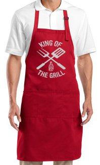 Men's BBQ Apron: King Of The Grill Barbecue By A&E Designs
