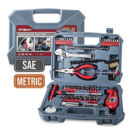 Hi-Spec 65 Piece Automotive Tool Set with SAE & Metric Sockets Including Spark Plug Sizes, Pliers, Spark Plug Gap Gapper, Tire Gauge & More in Storage Case Automotive Maintenance and Repair Tool Kit Image
