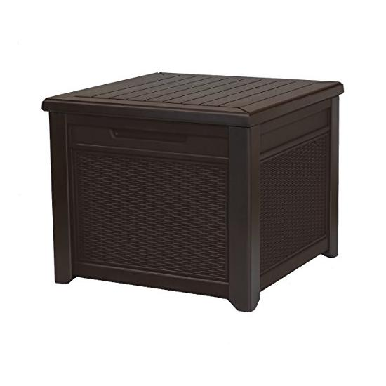 Keter 55 Gallon Outdoor Rattan Style Storage Cube Patio Table Image