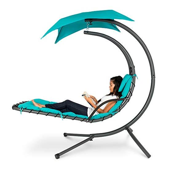 Best Choice Products Outdoor Hanging Curved Chaise Lounge Chair Swing for Backyard Image