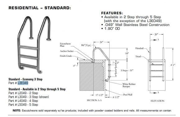 Review On Pool Ladders:Inter-Fab L3E049S 3 Economy Sure-Step Tread Swimming Pool Ladder