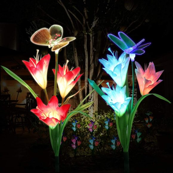 Solar Garden Lights Outdoor,WOHOME Solar Stake Lights Outdoor