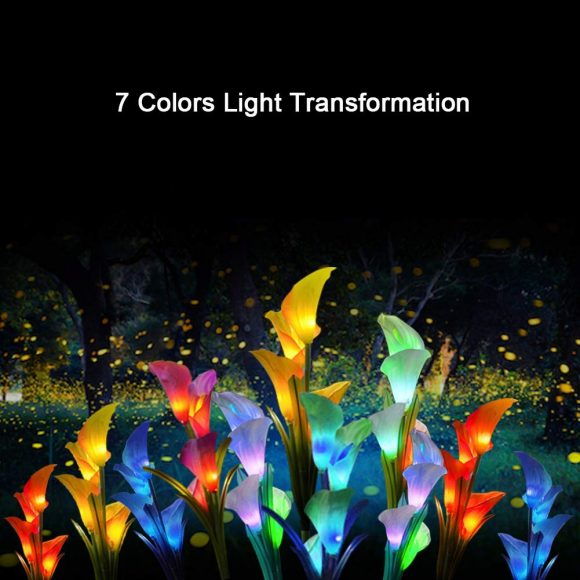 12 Lily Flower, Multi Color Changing LED Lily Solar Powered Lights