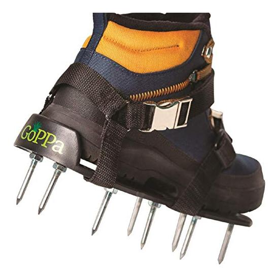 GoPPa Lawn Aerator Shoes – Easiest to USE Lawn Aerator Sandal, You only FIT Once. Ready for aerating Your Yard, Lawn, Roots & Grass – Comfort Design Image