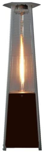 Golden Flame True Commercial (Propane) Hammered Bronze 3-Sided Pyramid Style Quartz Tube Patio Heater with Wheels (LP)