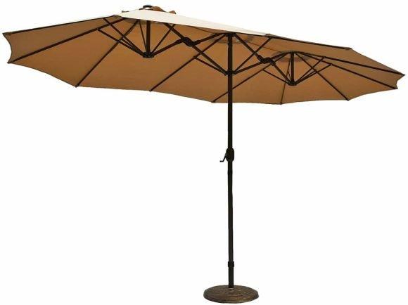 Le Papillon 15 ft Market Outdoor Umbrella Double-Sided Aluminum Table Patio Umbrella with Crank