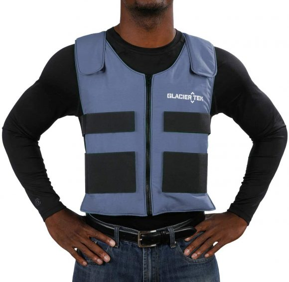 Glacier Tek Sports Cool Vest with Set of 8 Nontoxic Cooling Packs