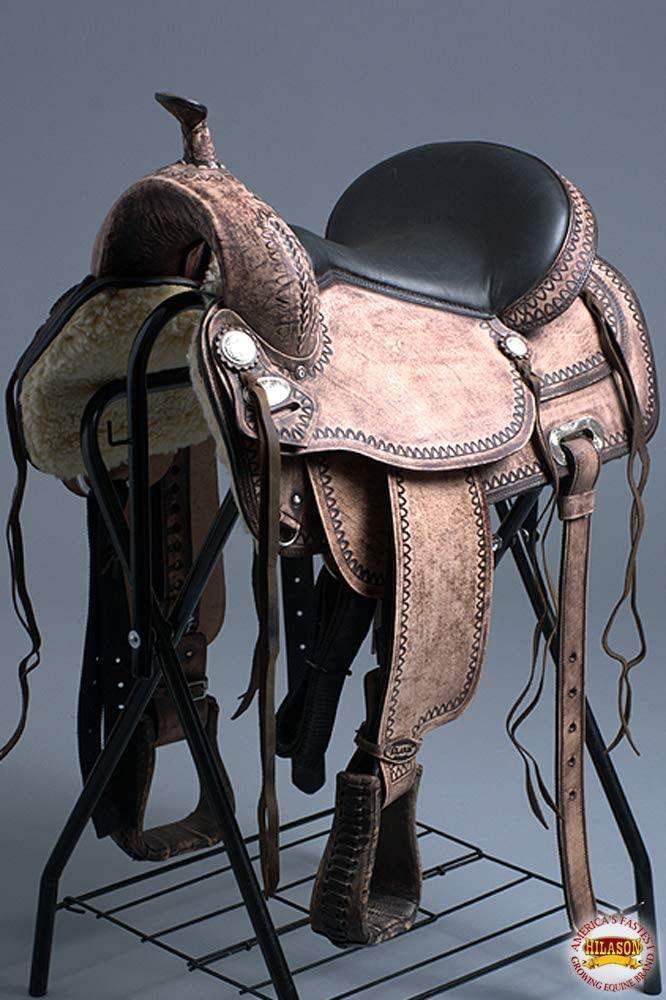 "HILASON 15"" Western Horse Saddle American Leather Flex Tree Trail"