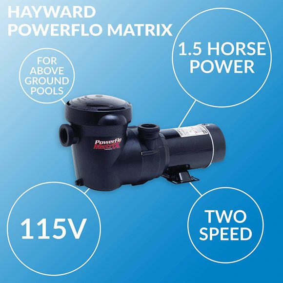 Hayward W3SP15932S PowerFlo Matrix Dual-Speed Above-Ground Pool Pump, 1.5 HP
