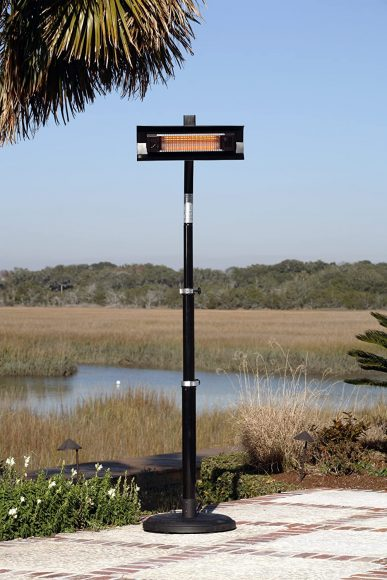 Fire Sense Black Powder Coated Steel Telescoping Offset Pole Mounted Infrared Patio Heater with Wheels