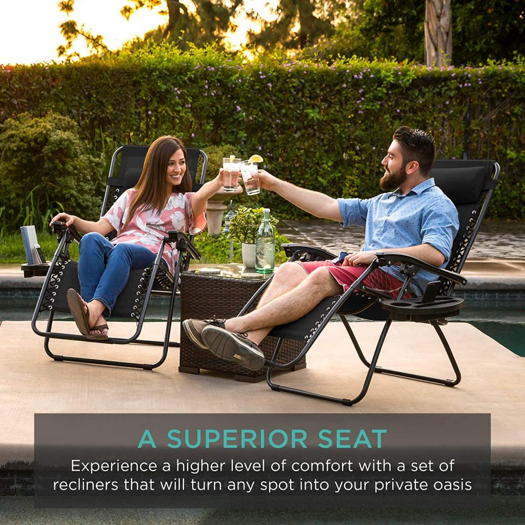 Best Choice Products Set of 2 Adjustable Zero Gravity Lounge Chair Recliners for Patio, Pool w/Cup Holders - Gray