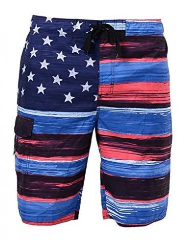 US Apparel Men's American Flag Boardshort
