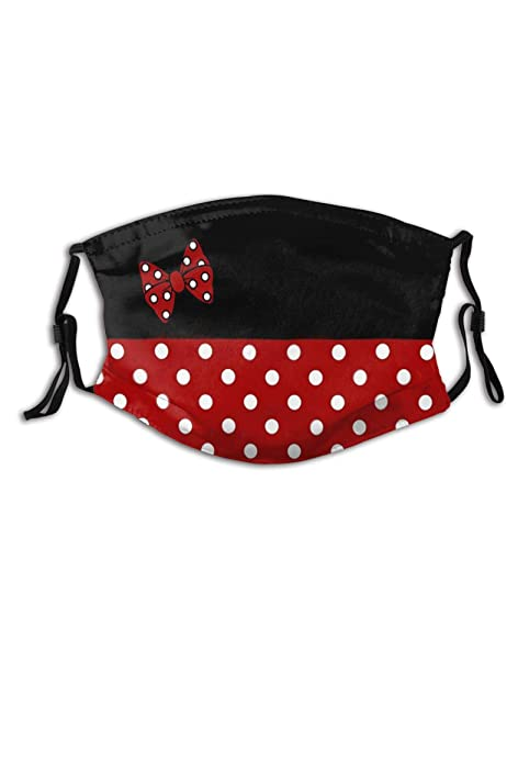 Fashion Kawaii Red Bow Polka Dot Face Mask Washable & Reusable - Adjustable & Breathable 2 Pcs Fliter Fashion Scarf